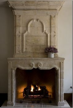 Vintage fireplace in French château