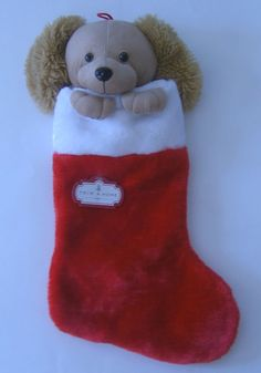 Dog Christmas Stocking Puppy Head Paw 21 in. Red White Soft Plush Stuffed Animal…