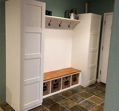 ikea entry table hack best mudroom ideas ideas on entryway inside entry bench wi. Entryway Closet, Pax Closet, Mudroom, Kallax Bench, Ikea Pax, Entry Bench, Bench With Storage, House Entrance, Smart Home