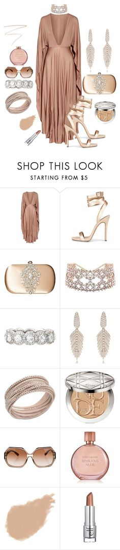 """""""Birthday Suit"""" by unusualengagementringsreview ❤ liked on Polyvore featuring Valentino, Badgley Mischka, 64 Facets, Sutra, Swarovski, Christian Dior, Tory Burch, Estée Lauder, Bobbi Brown Cosmetics and e.l.f."""