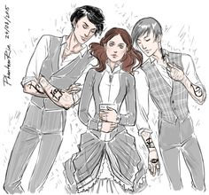 "Will, Tessa, Jemreading ""the Clockwork Angel"" by Cassandra Clare)))"