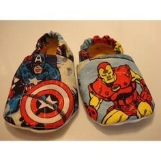 THE AVENGERS baby shoes (pick from) Iron Man, Spider-Man, Wolverine,... ($15) ❤ liked on Polyvore