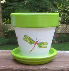 Dragonfly Painted Flower Pot