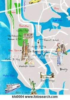 Stock Illustration - painted map of  new york city.  fotosearch - search  clipart, illustration  posters, drawings  and vector eps  graphics...
