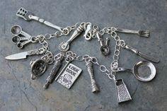 Chefs charm bracelet- pewter cooking utensils, sterling silver ...