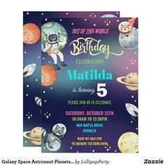 Galaxy Space Astronaut Planets Girl Birthday Party Invitation