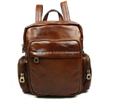 Brown Leather Rucksack Backpack - Genuine Leather Canvas Bag CanvasBag.Co
