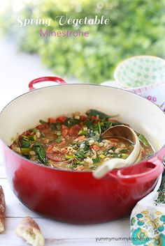 Spring Vegetable Minestrone #healthy #vegetarian recipe from YummyMummyKitchen.com