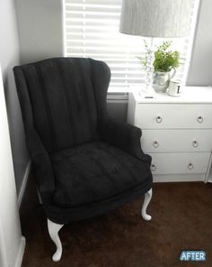 This chair was a 5 dollar junker, given new life with spray paint. Let me rephrase that, FABRIC spray paint. It's not stiff or hard, doesn't rub off, non-toxic. My word, I have so found my new favorite blog...