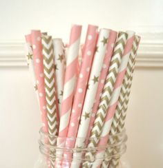 100X gold and pink mix polka dot paper straws wedding drinking party tablewear O