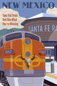 Photo: The New Mexico Rail Runner featured in travel poster series Limited Edition Giclee Prints by Steve Thomas   Available exclusively at Tartaglia Fine Art  667 Canyon Road, Santa Fe, NM 87501  Call now to inquire, (505) 795-4977  www.TartagliaFineArt.com  Like us at; Tartaglia Fine Art Santa Fe