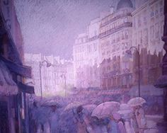 """Paris Print Rainy Day City Figures Fine Art Prints -Reifsnyder. Paris Left Bank people with umbrellas on a street after a rain storm. Printed on archival matte paper or stretched canvas using archival inks . Sizes available 8x10"""" ,11x14"""" , 12x16"""" , 16x20"""" . Production time is 4 days for the small paper prints and up to 10 days for the canvas prints. I make every effort to produce and ship as soon as possible. Make your selection of size option and material at checkout. All paper sizes have…"""
