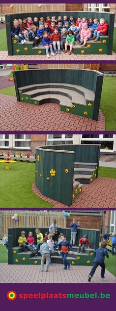 I would totally have this built to put it in the play area. It could be used for group pictures, circle time, reading books, watching plays or anything else it has a lot of functionalities. Outdoor Learning Spaces, Outdoor Play Areas, Outdoor Fun, Preschool Playground, Backyard Playground, Playground Ideas, Outdoor Classroom, Outdoor School, Kindergarten Design