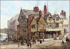 View Lower Bridge Street, Chester by Louise J. Rayner on artnet. Browse upcoming and past auction lots by Louise J. Medieval Houses, Medieval Life, Victorian London, Victorian Era, Historical Architecture, Art And Architecture, Chester City, Building Drawing, Old Pub