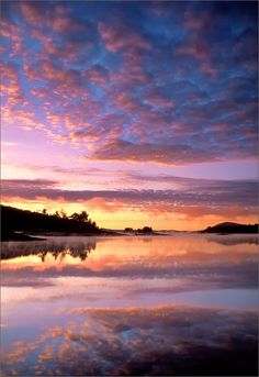 Mackerel clouds, sunrise, quabbin reservoir, Massachusetts, reflection, photo