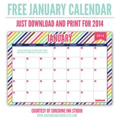 FREE January 2014 printable calendar download with Bible verse.  Enjoy!