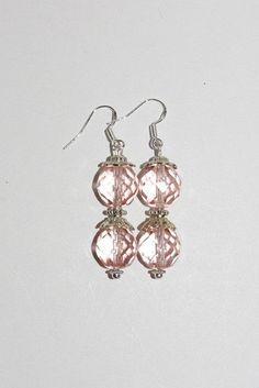Handmade Pierced Earrings Pink Crystals      by SCLadyDiJewelry