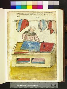 Cloth merchant measuring fabric. Die Hausbucher der Nurnberger Zwolfbruderstiftungen. Amb 317.2 ° folio 66 recto. c. 1425. German