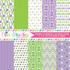 Purple and Green Digital Paper Pack – Erin Bradley/Ink Obsession Designs