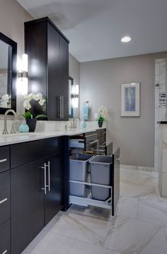 Large drawer with double trash cans - Master Bath #curb #appeal #renovations #remodel #bathroom #texas #storage #cabinet