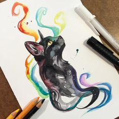 Black Rainbow Cat I'm starting this month's round of Patreon rewards! Animal Drawings, Art Drawings, Inspiration Drawing, Black Cat Tattoos, Black Cat Art, Art Et Illustration, Rainbow Art, Rainbow Drawing, Oeuvre D'art