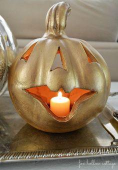 Fall Halloween Pumpkin Makeover Gold Metallic