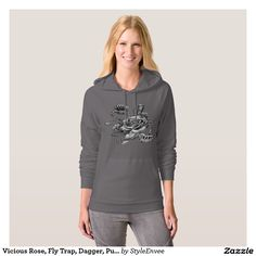 Vicious Rose, Fly Trap, Dagger, Pullover Hoodie  The Vicious Rose, Fly Trap, Dagger, Pullover Hoodie is a cool design. It symbolizes a metaphor for the hazards of love. Customize this design onto over 160 styles of apparel.