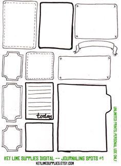 Digital Scrapbook Embellishment Journal Tags Journaling Spots Printable Hand Drawn. via KeyLimeSupplies @ Etsy.