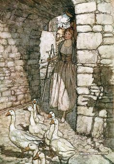 """From 'The Goosegirl'. """"Grimm's Fairy Tales"""" illustrated by Arthur Rackham, 1909"""