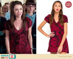 Mona's red floral short sleeved dress on Pretty Little Liars.  Outfit Details: http://wornontv.net/34617/ #PLL