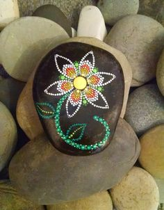 Hand Painted Dot Art Flower ~ Painted Beach Stone ~ Colorful Home Decor ~ Ornament ~ Painted Rock Mandala Design by P4MirandaPitrone on Etsy