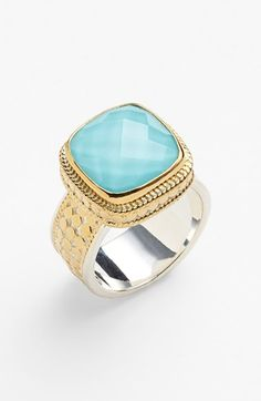 Free shipping and returns on Anna Beck 'Gili' Turquoise Cushion Ring at Nordstrom.com. Bright faceted turquoise enlivens the cushion setting atop a mixed-metal ring framed by hand-set vermeil discs.