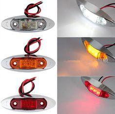 10PCS AMBER Yellow White Red Waterproof Side Marker Lights Clearance Lamp Trailer Truck Bus Car 3-LED 12V 24V