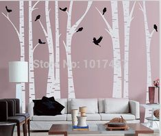 """Vinyl wall stickers tree large ,oversized 140""""x100"""" forest birch tree with Birds ,free shipping wall stickers Home decor tree"""