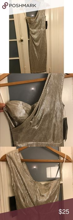 NWT Marilyn Monroe Style Silver Pleated Dress Built in bra & slip. One shoulder dazzling dress. Size Medium but fits as a Small. Seams missing near slit on back of dress (easy fix) Stop Staring Dresses One Shoulder