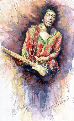 Watercolor Painting - Jimi Hendrix 09 by Yuriy Shevchuk Music Artwork, Art Music, Music Artists, Rock And Roll, Jimi Hendrix Poster, Guitar Art, Music Guitar, Rock Posters, Arte Pop