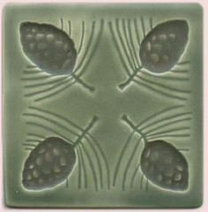 "Starbuck Tile Arts & Crafts Tile: 4 1/2"" 4 pine cones; color - sage w/ cone brown  price: $20.00"
