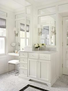 Adorable traditional bathroom with makeup vanity table set with mirror design- also love these Mirrors Bathroom With Makeup Vanity, Makeup Table Vanity, Vanity Sink, Vanity Ideas, Bathroom Vanities, Makeup Counter, Mirror Ideas, Bathroom Cabinets, Bathroom Furniture