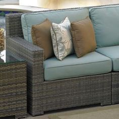 Even Miley would love the Malibu Deep Seating Sectional from Family Leisure! Outdoor Sofa, Outdoor Living, Outdoor Decor, Wicker Patio Furniture, Blue Cushions, Living Spaces, Family Leisure, Backyard, Patio Ideas