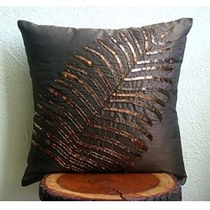 Luxury Brown Pillows Cover Sequins Leaf Tropical Theme Pillows Cover 16x16 Pillow Cover Square Silk Pillows Cover Floral  Brown Leaf * Check out this great product.-It is an affiliate link to Amazon. #Sofa