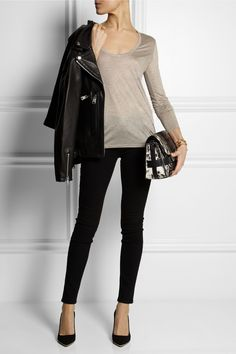 R13 | Classic Moto leather biker jacket | The Row | Baxerton jersey top | Current/Elliot | The Ankle legging mid-rise skinny jeans | J.Crew | Everly suede pumps | Proenza Schouler | PS11 Classic calf hair shoulder bag |