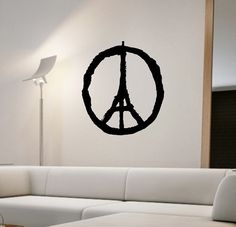 Peace Sign Paris Eiffel Tower Wall Decal Sticker Art Decor Bedroom Design Mural interior design family home decor art pray for paris by StateOfTheWall on Etsy https://www.etsy.com/listing/256081679/peace-sign-paris-eiffel-tower-wall-decal