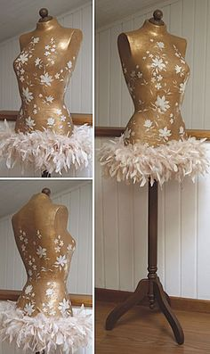 Consider doing this using existing dress form, just add feather boa hem and other embellishments. Funky Painted Furniture, Vintage Furniture, Sewing Room Decor, Clothing Displays, Mannequin Heads, Walk In Wardrobe, Mosaic Crafts, Recycled Fashion, Dress Form