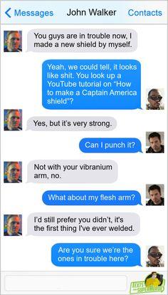 Marvel Funny, Marvel Dc, Marvel Comics, Avengers Memes, Marvel Memes, Superhero Texts, Comic Text, Marvel Quotes, Captain America Shield