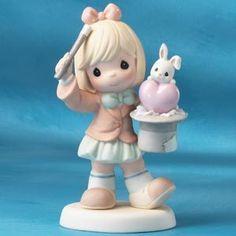 "Precious Moments ""Wish You Were Hare"" Magic Trick Girl Bunny 1st Mark 110447 | eBay"