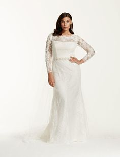 David's Bridal lace long sleeved plus size wedding dress