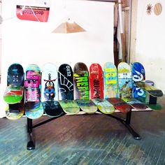 Custom Recycled skateboard and powdercoated steel bench for West Valley City, Utah Skatepark #skatepark #skateparkfurniture #outdoorfurniture
