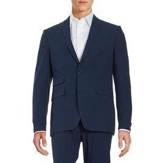 Tallia Orange Men's Seersucker Linen Jacket ($80) ❤ liked on Polyvore featuring men's fashion, men's clothing, men's outerwear, men's jackets, navy, mens linen jacket, mens jackets, mens linen blazer and mens blazer jacket