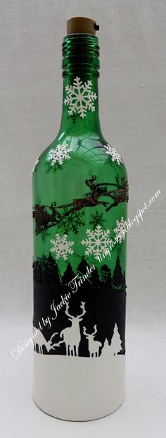 Tinyrose's Craft Room: Moving Along with the Times (MAWTT) Challenge Blog - Anything But a Card Light Up Bottles, Bottle Lights, Door Crafts, Move Along, Santa Sleigh, Snow Scenes, Xmas Cards, Snowflakes, Challenges