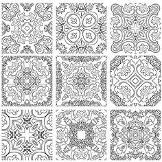 中世ヨーロッパの高貴なビンテージパターンのセット